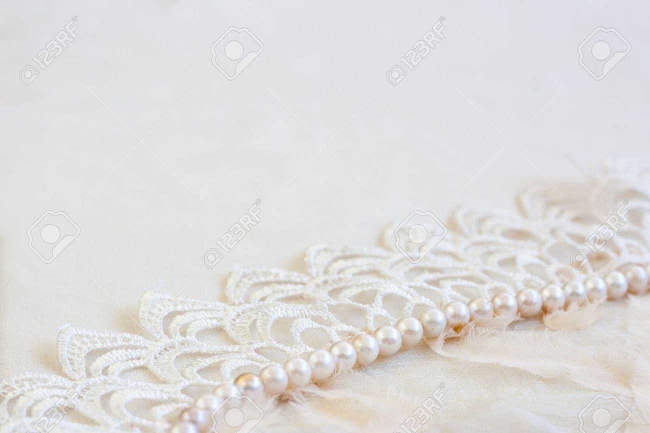 Vintage background with lace and pearls  Stock Photo