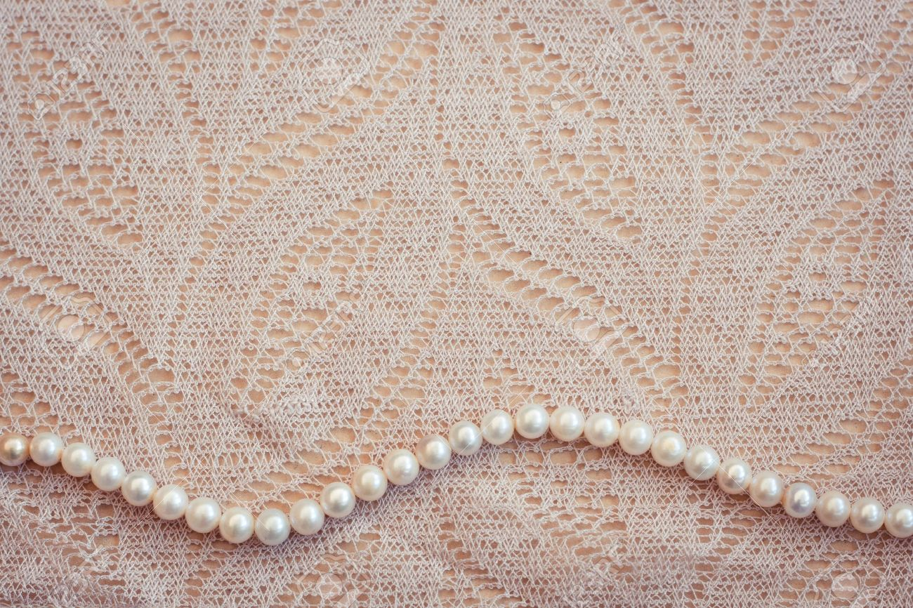 Lace Pearls Vintage Background Stock Photo 96793372