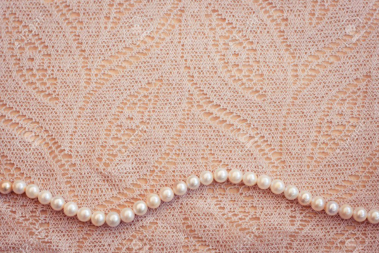 Lace and pearls vintage background Stock Photo - 12714953