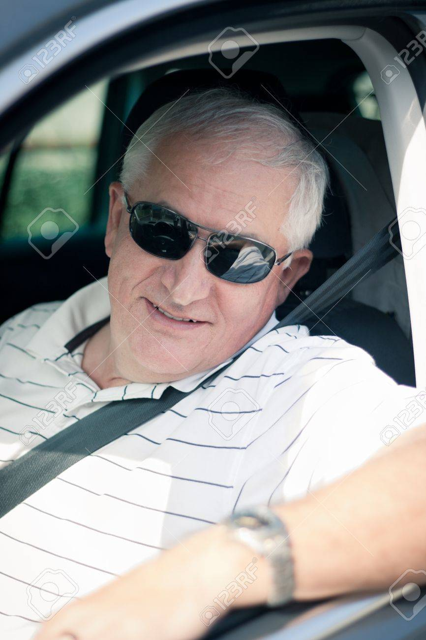 Handsome Middle Aged Man Driving A Modern Car Stock Photo   14722493