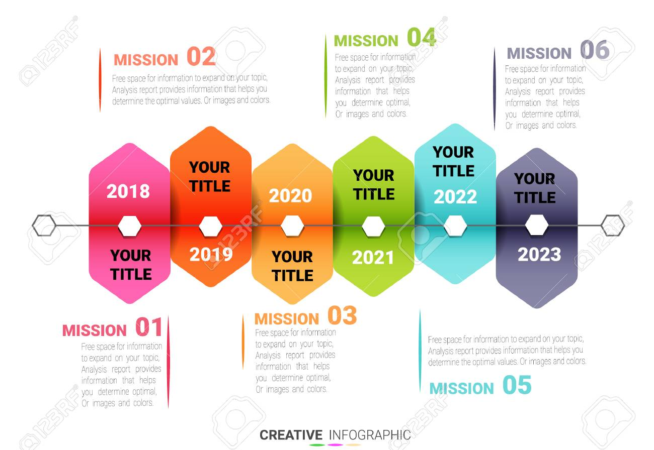 presentation infographic template with 6 options, timeline
