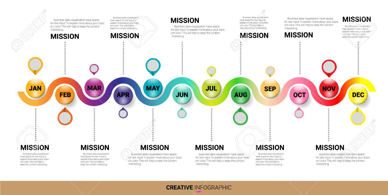 timeline 12 month 1 year colorful infographic template royalty