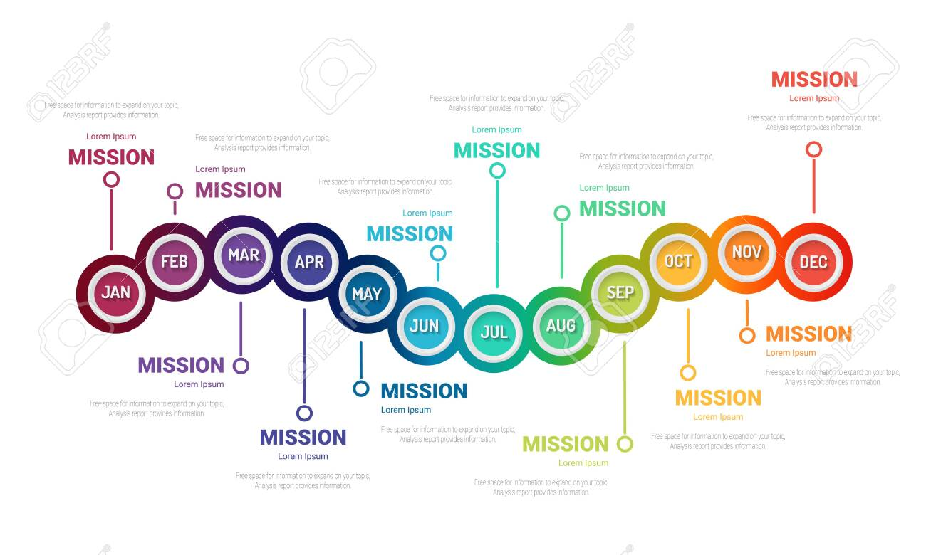 Timeline for 1 year, 12 months, infographics month planner design vector 12 steps and Presentation business can be used for Business concept with 12 options, steps or processes. - 144211058