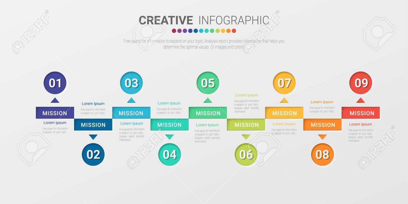 Presentation business infographic template, Abstract infographics number options template with 9 steps. Vector illustration. - 149251212