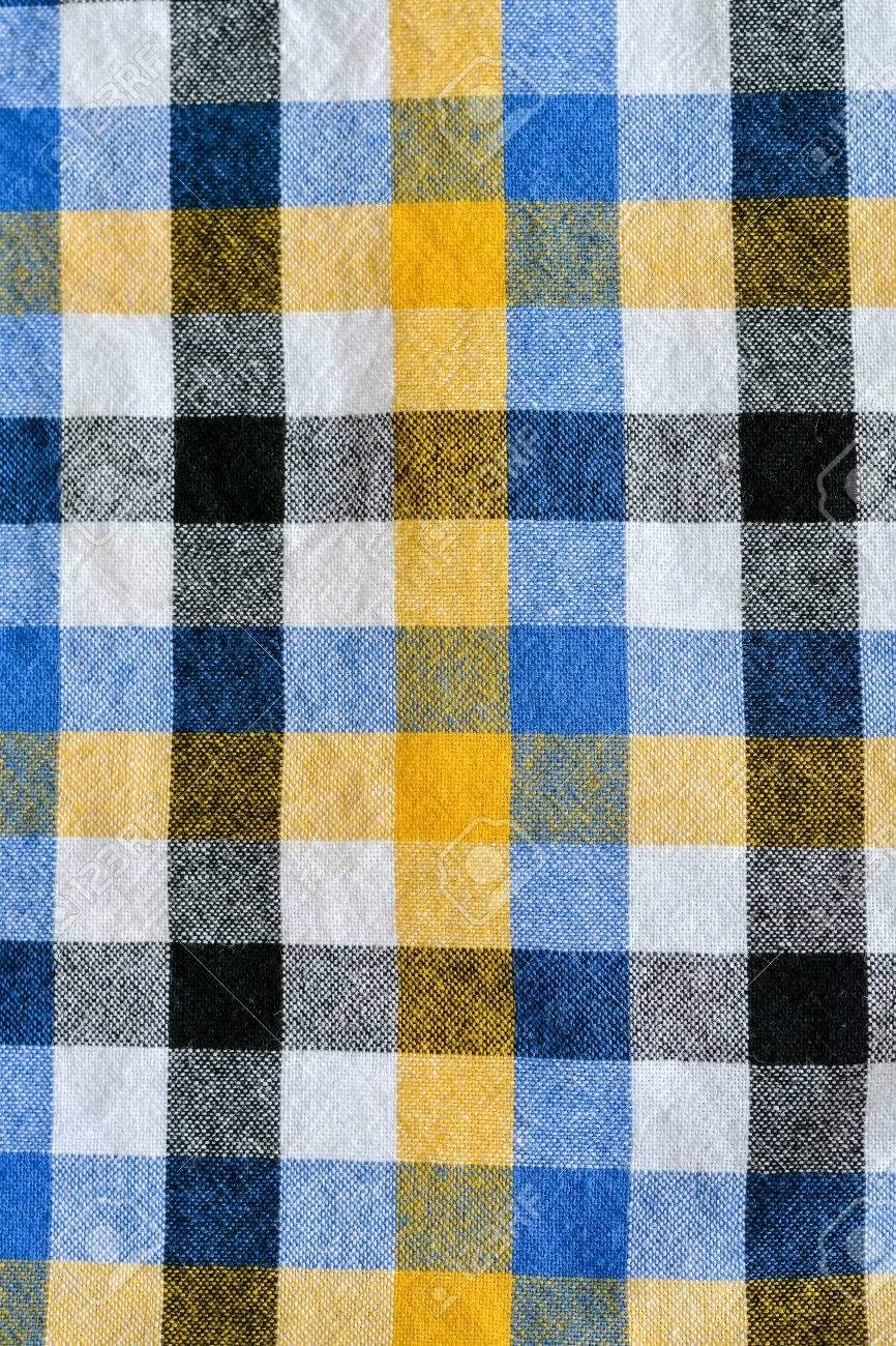 1c5ea3972160e Yellow and white blue plaid fabric Linen checkered texture.