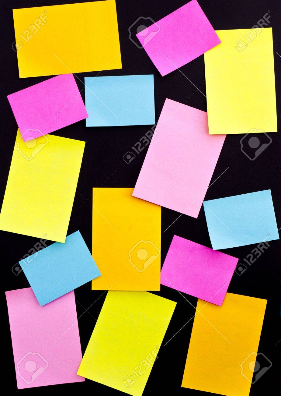 post it on black board, for use of taking notes, or authors declare Stock Photo - 13719370