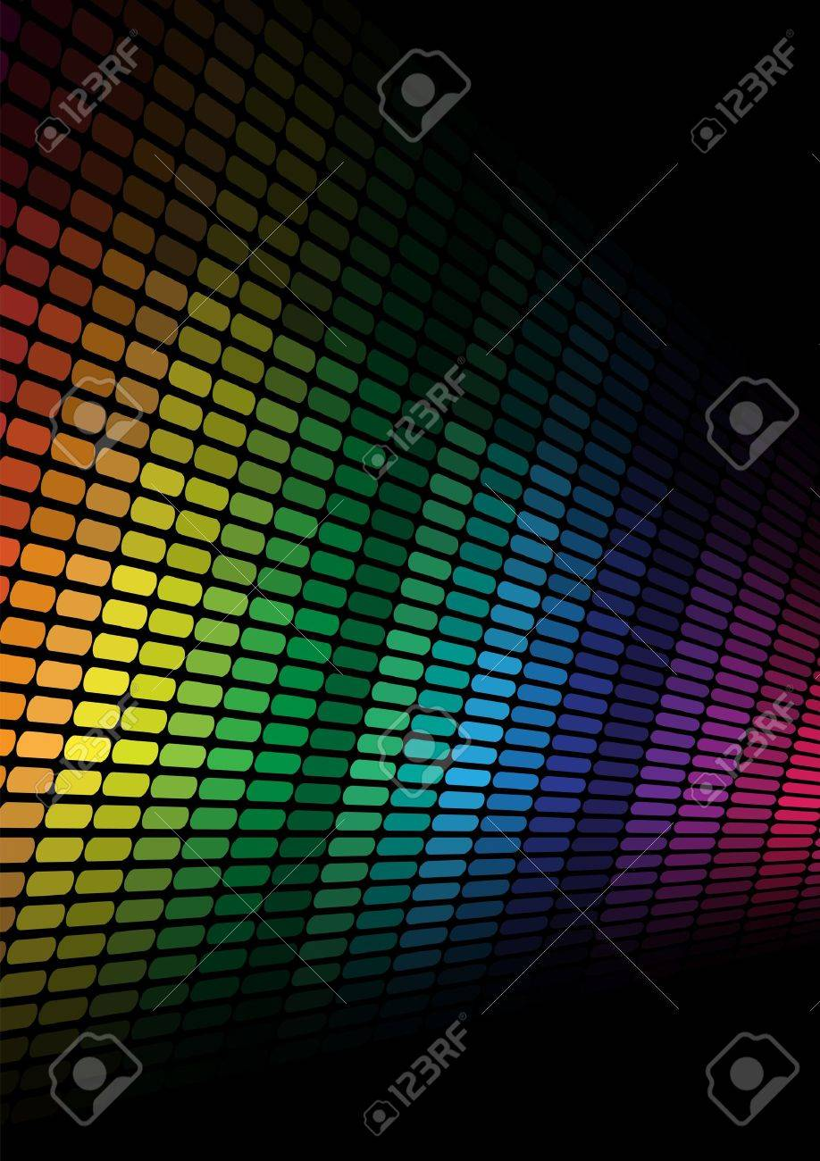 Abstract Background - Multicolor Equalizer on Black Background Stock Vector - 8242729