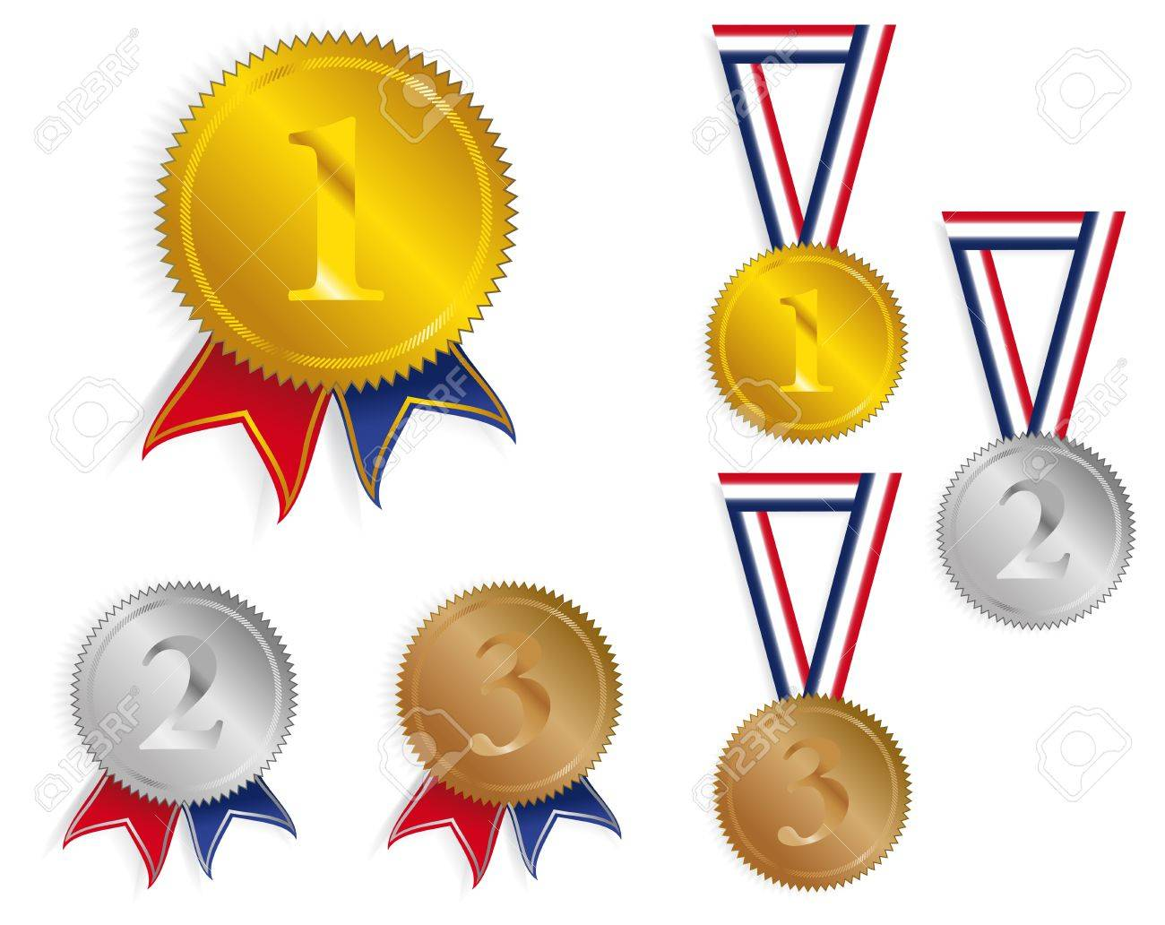 Golden, Silver and Bronze Medals With Ribbons Stock Vector - 9043409