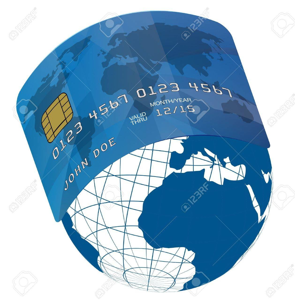 Blue Fictitious Credit Card On Blue Globe World Map Royalty Free - Us globe map