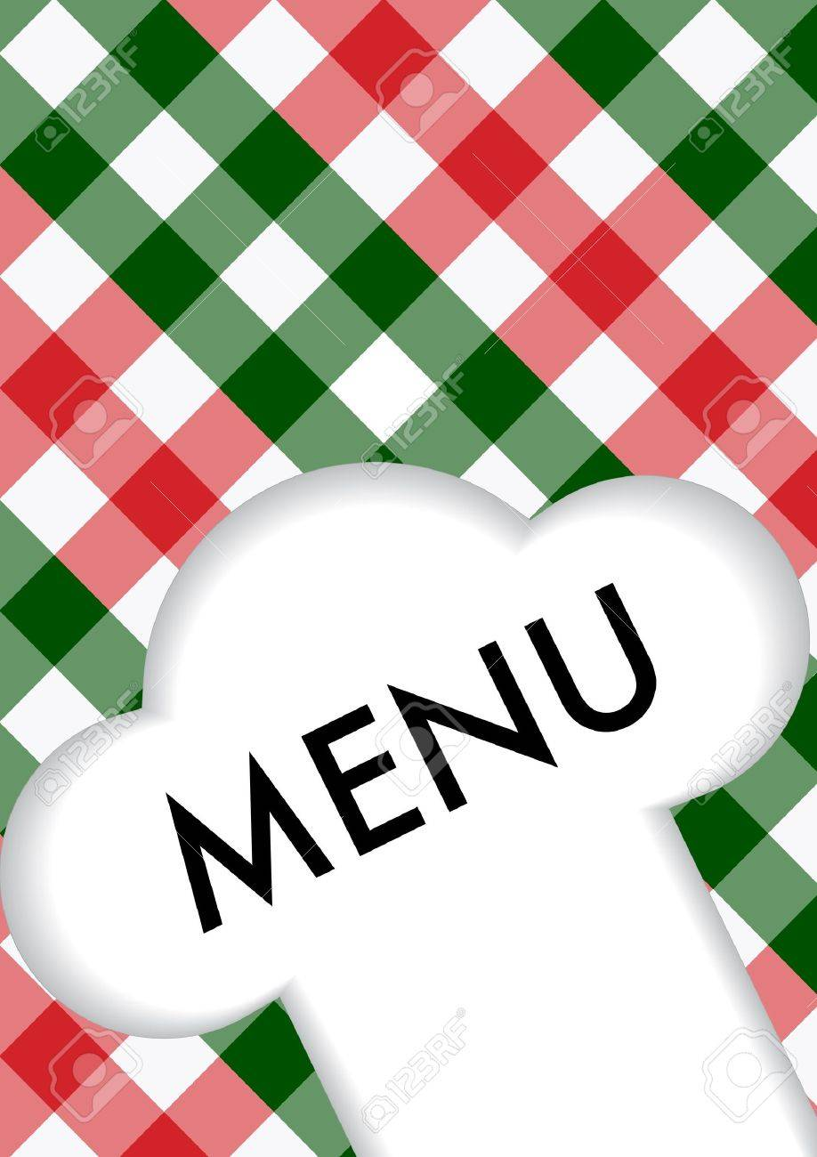 Menu Card Design - Menu Sign and Chef's Hat Symbol on Red and Green Gingham Texture Stock Vector - 9228130