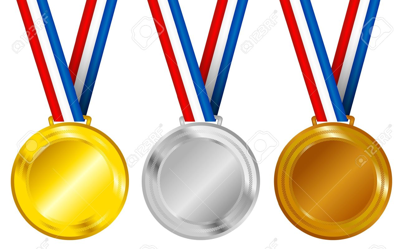 Set of Golden, Silver and Bronze Medals with Ribbons Stock Vector - 9492129