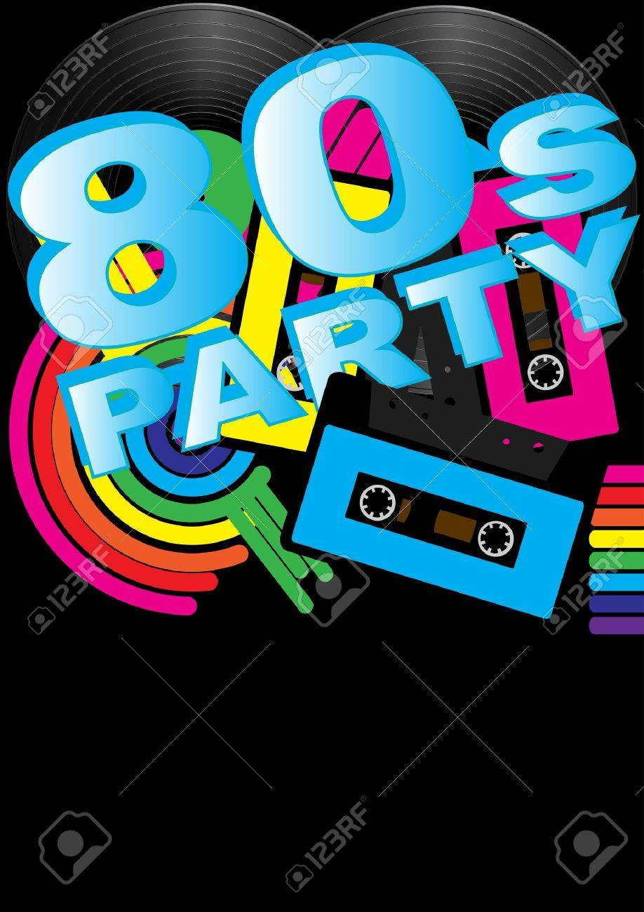 Abstract Background - Vintage Vinyl Records, Audio Tapes and 80s Party Sign - 9674753