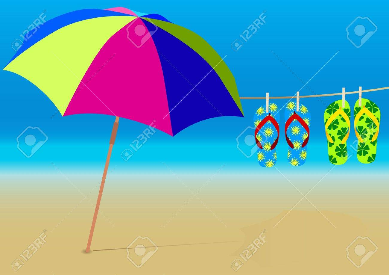 Blue Beach Umbrella Clipart Summer Background And Hanging Flipflops On Empty Sandy Stock