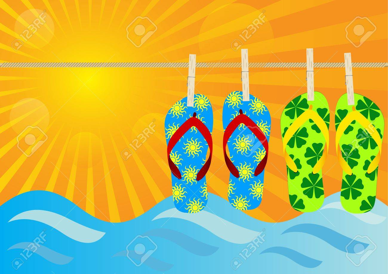 Summer Background - Hanging Flip-Flops on the Beach Stock Vector - 9811614