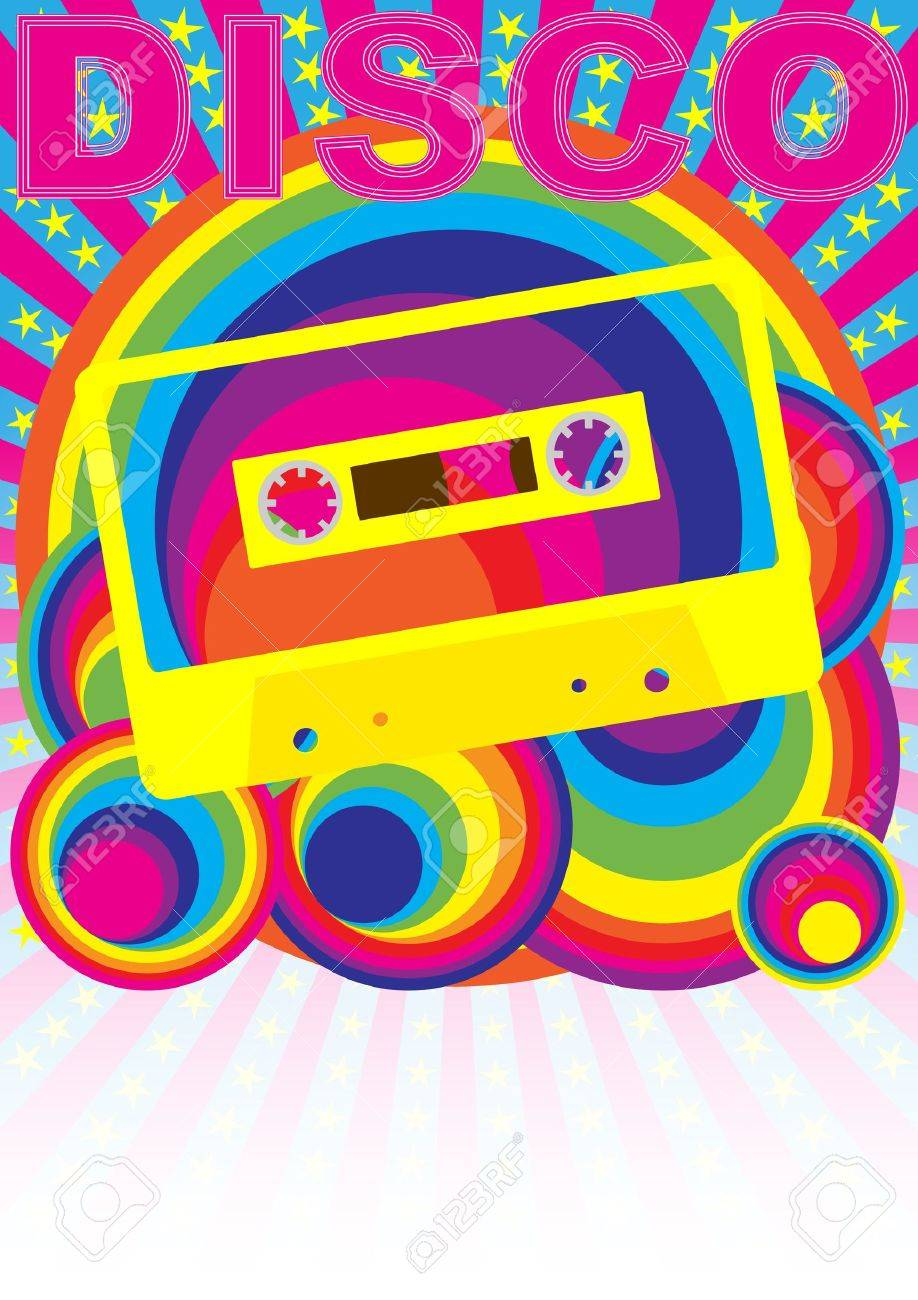 Retro Party Background - Audio Casette Tape and Disco Sign on Multicolor Background Stock Vector - 9904139