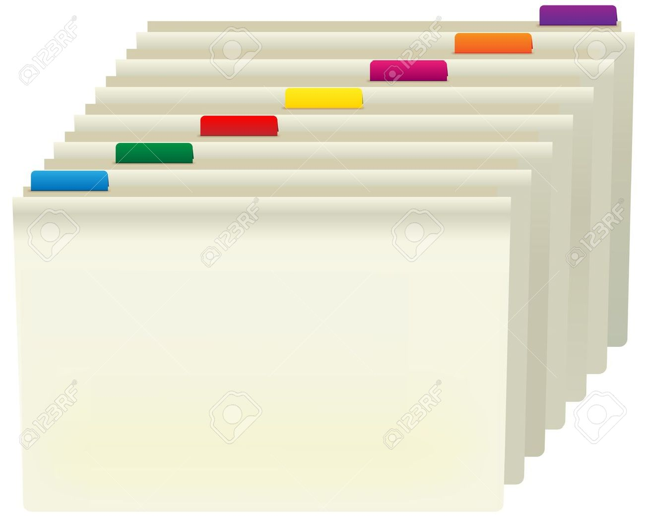 Organized Binder Clipart Manila Folders With Color