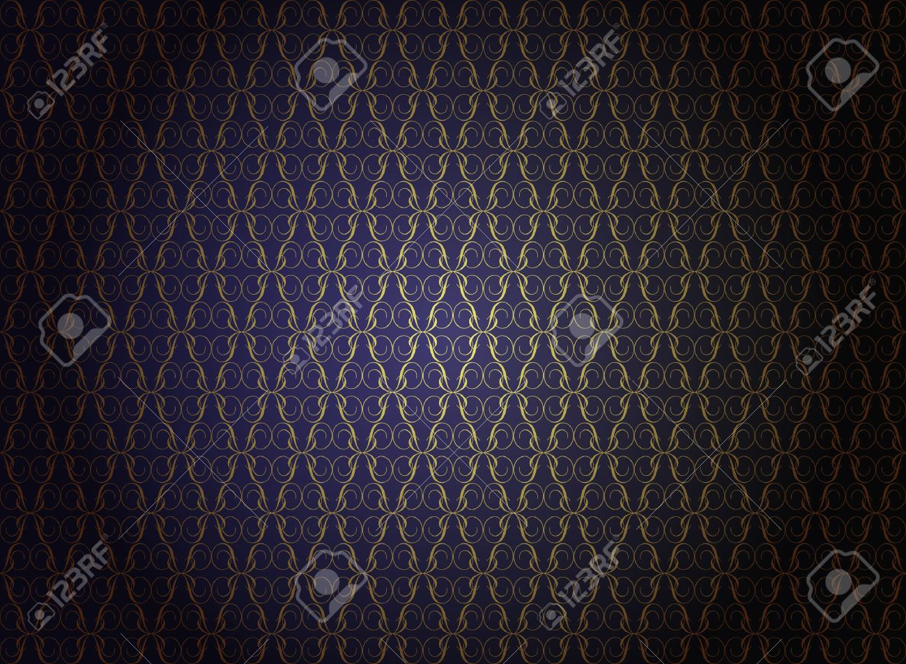Vintage Wallpaper - Golden Ornaments on Dark Blue Background Stock Vector - 9904124