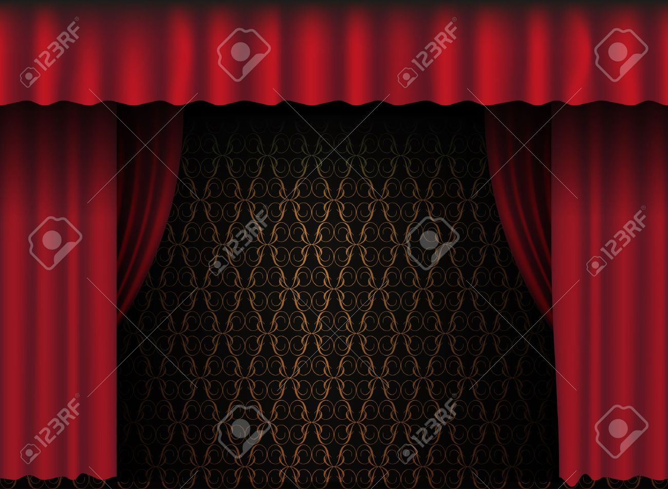 Stage curtain wallpaper curtain designs - Red Theatre Curtain Vintage Wallpaper In Background Stock Vector 9904128