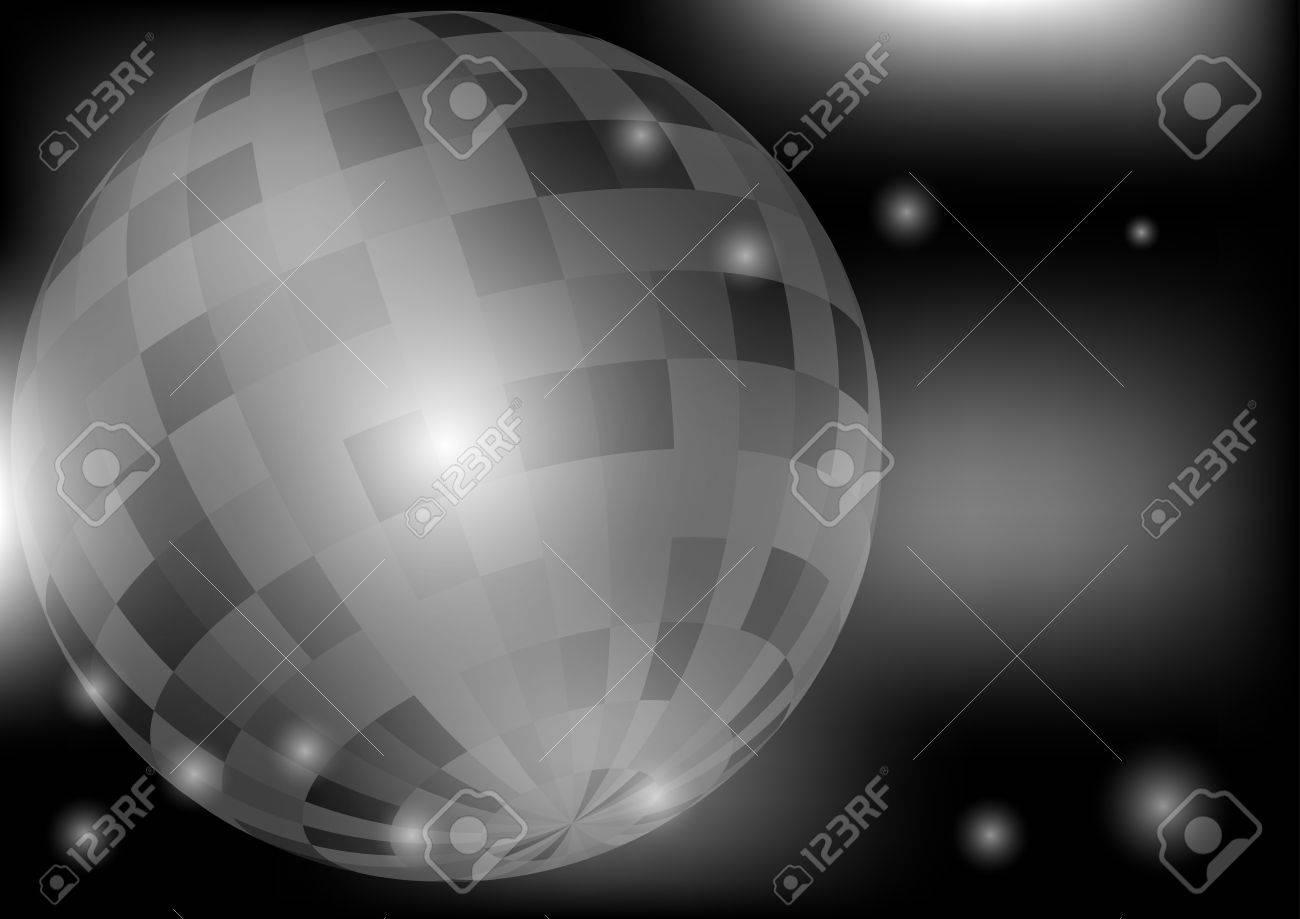 Glowing Retro Disco Ball in Night Club on Dark Background Stock Vector - 10257136