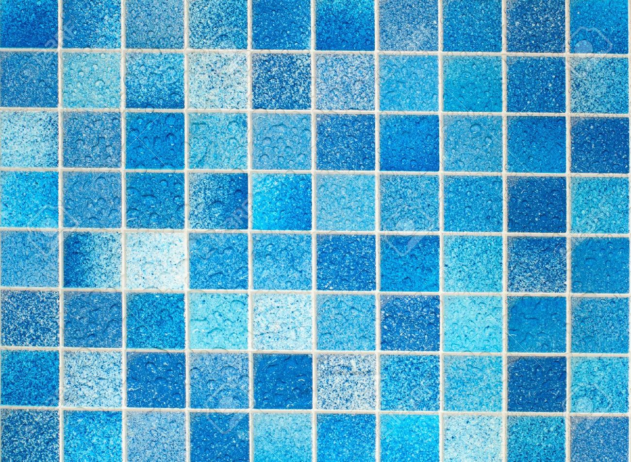 Blue Tiles In Bathroom With Water Drops Stock Photo Picture And