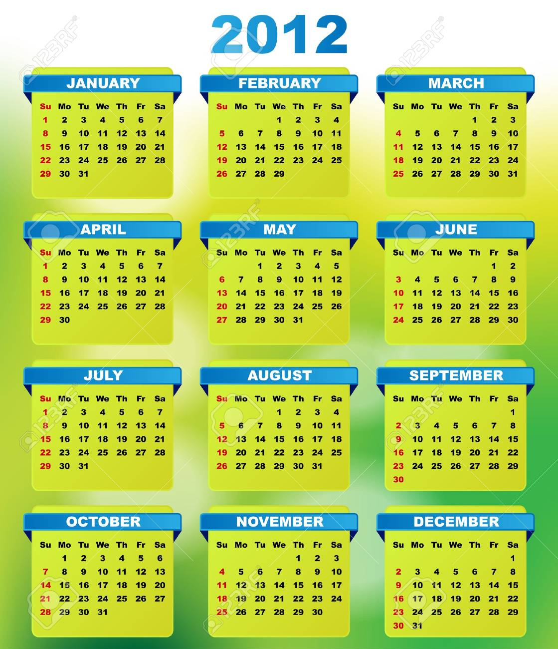 2012 Calendar With Abstract Green Background Stock Vector - 10474624