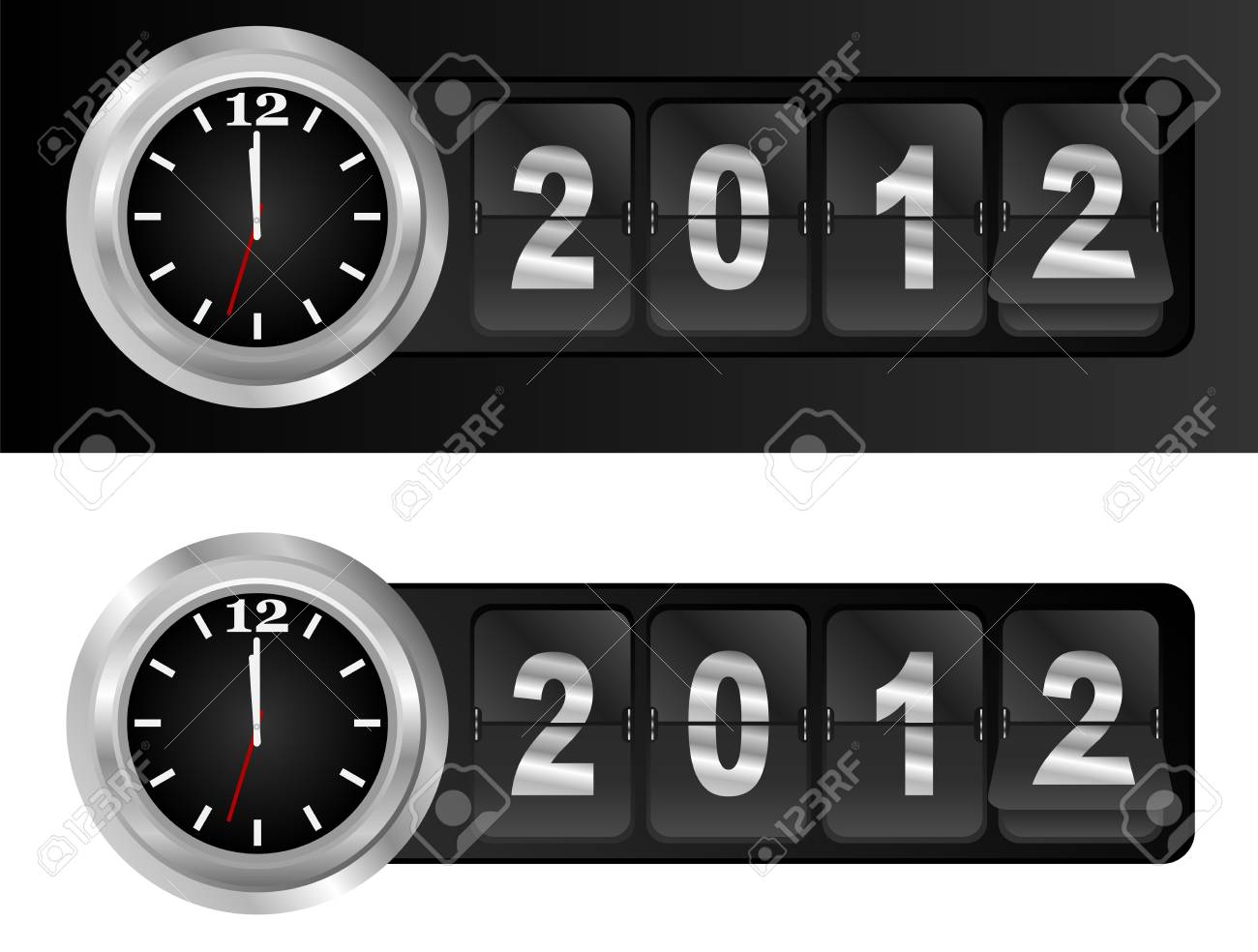New Year 2012 Sign and Silver Cock in Airport Time Style Stock Vector - 10825970