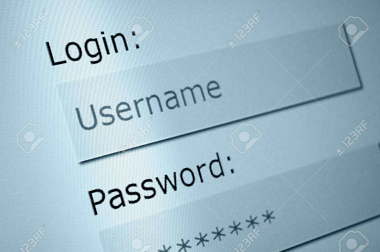 123Rf Password login - username and password in internet browser on computer