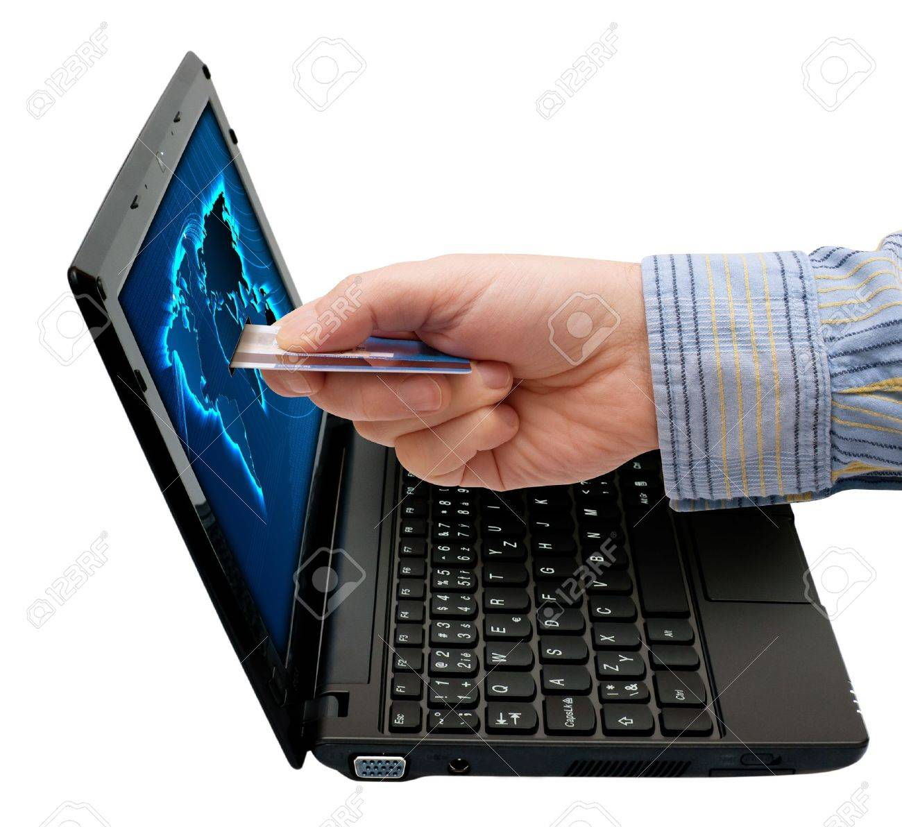 E-Commerce: Mans Hand With Credit Card and Notebook Isolated on White Stock Photo - 11132941