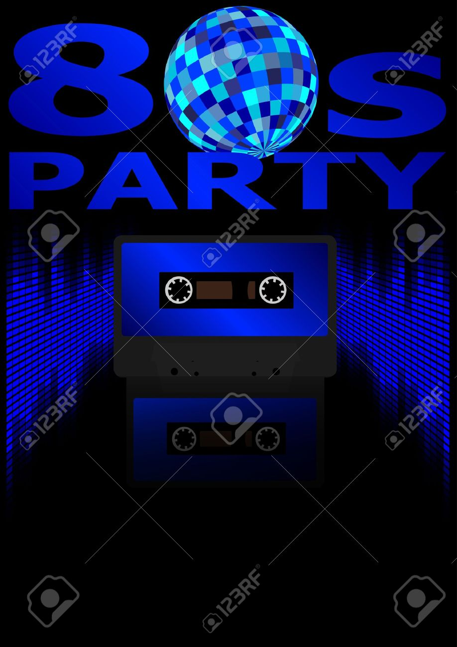 Eighties Party Background - Retro Audio Cassette Tape, Equalizer in Shades of Blue and 80s Party Sign Stock Vector - 11227954