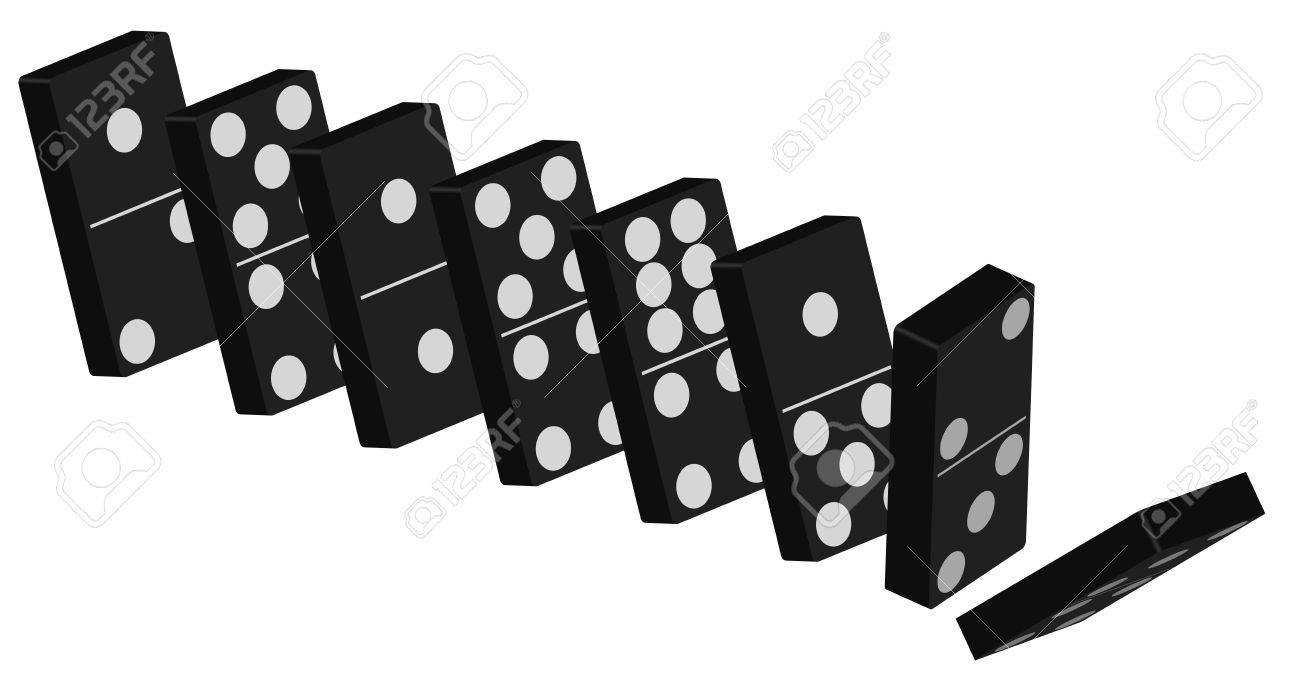 Domino Effect - Standing Black Tiles Isolated On White Background Stock Vector - 11633706