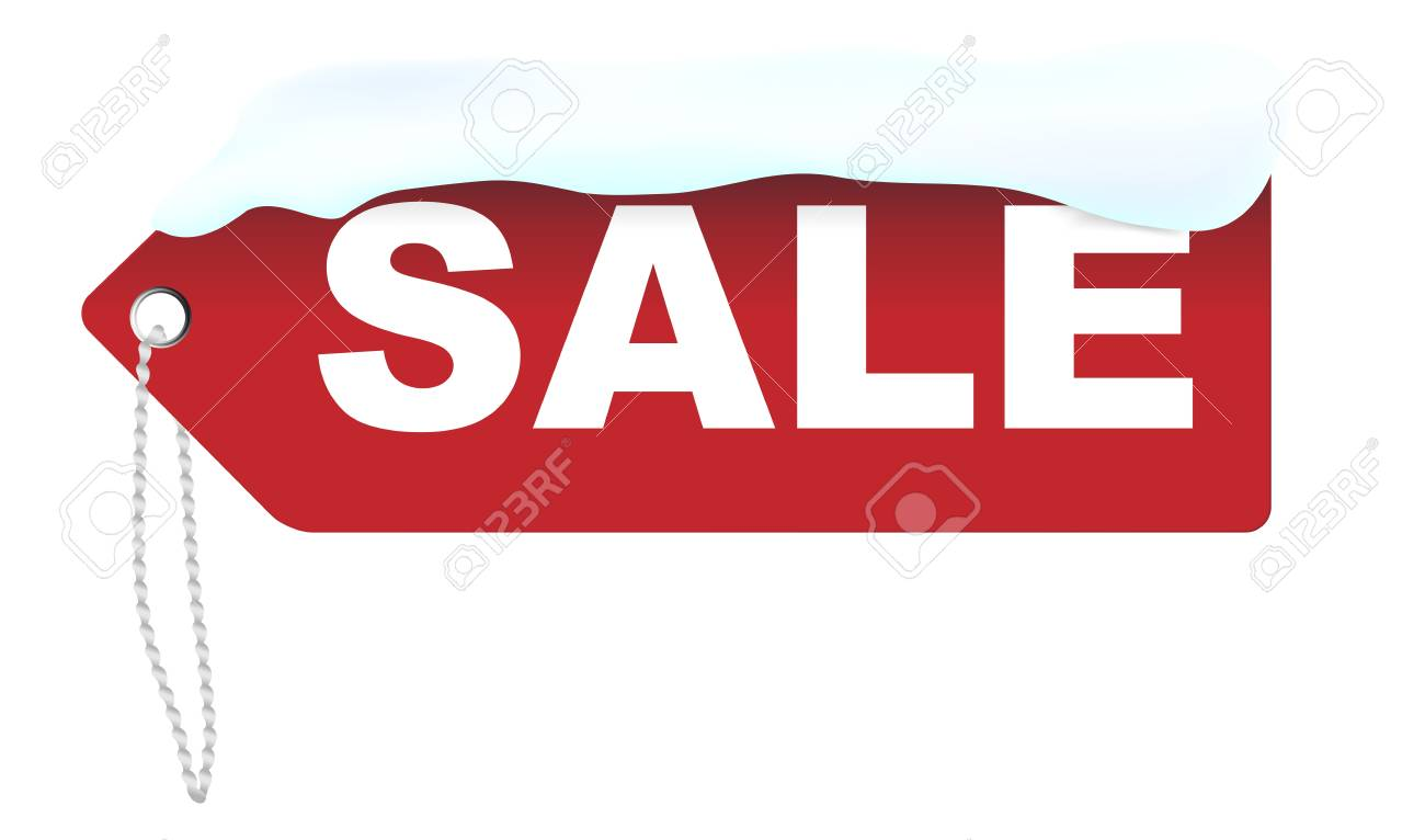 Winter Sale - Red Sale Sign Covered With Snow Isolated on White Stock Vector - 11799707