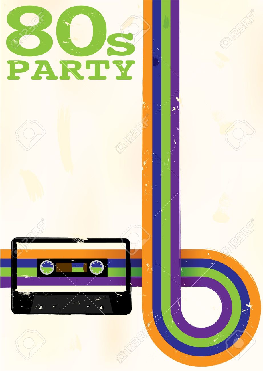 Retro Poster - 80s Party Flyer With Audio Cassette Tape Stock Vector - 12608469