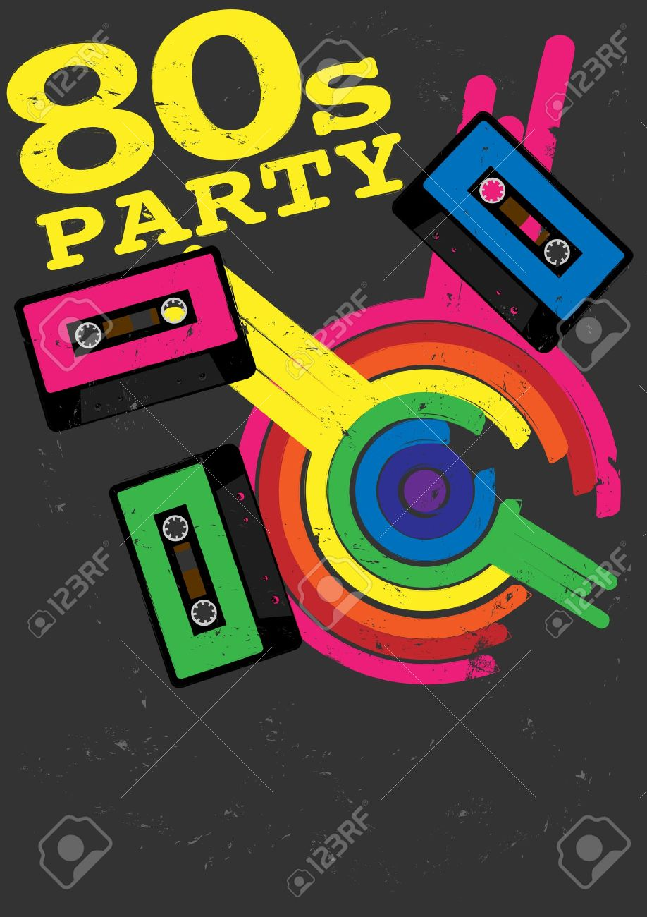 80s poster design - Poster 80s Retro Poster 80s Party Flyer With Audio Cassette Tape