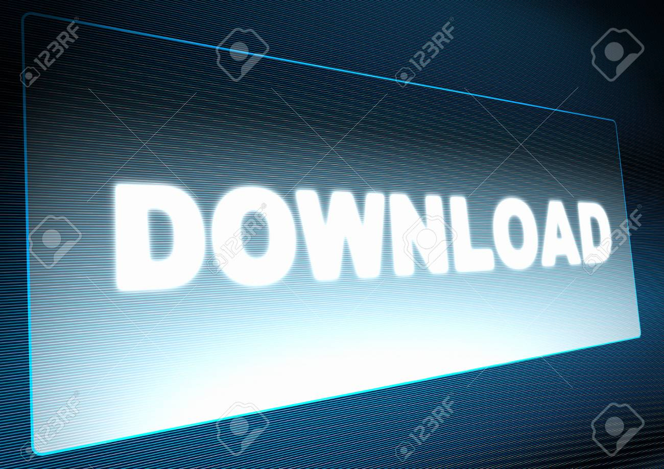 Download Button on Screen of Monitor - Illustration Stock Photo - 13762174