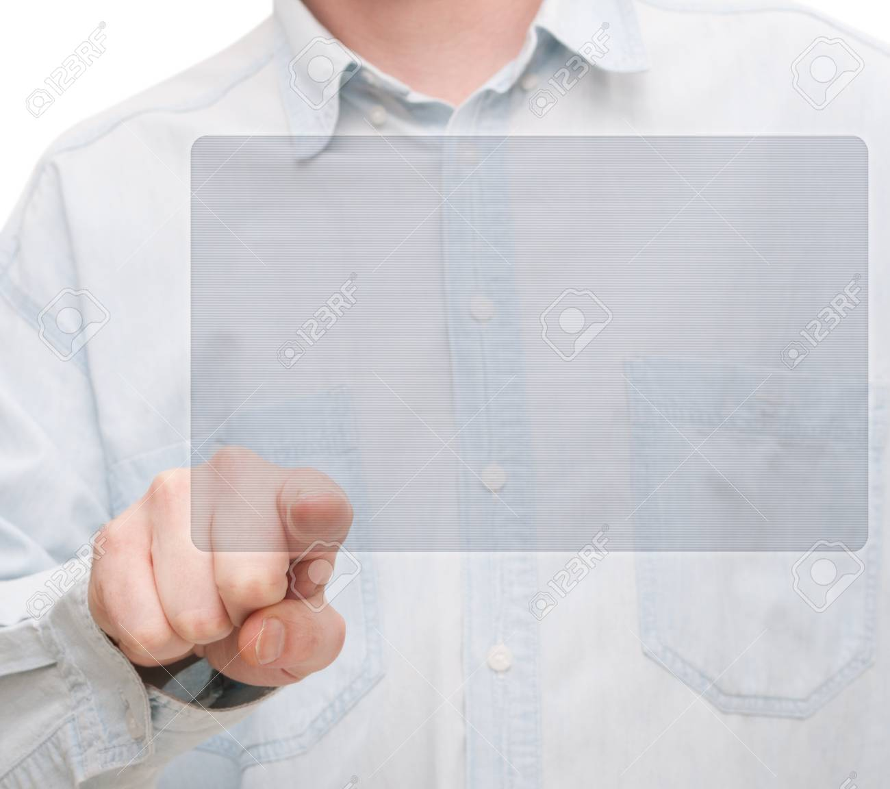 Hand Pushing Touchscreen - Place for Copy Stock Photo - 13927063