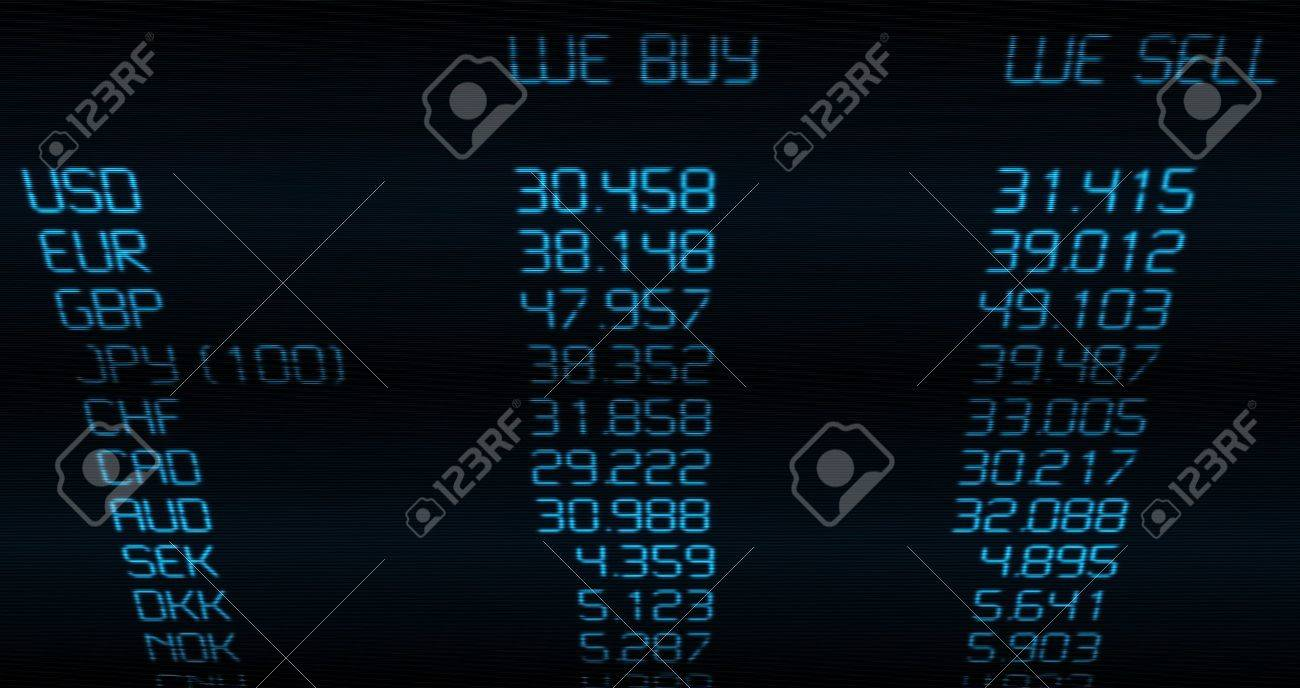 Foreign Currency Exchange Rate on Blue Display Stock Photo - 14087983