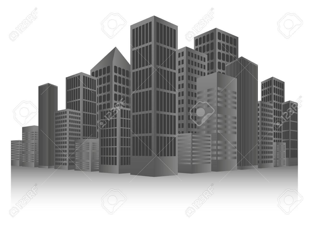 Grey Cityscape Background Stock Vector - 14380720