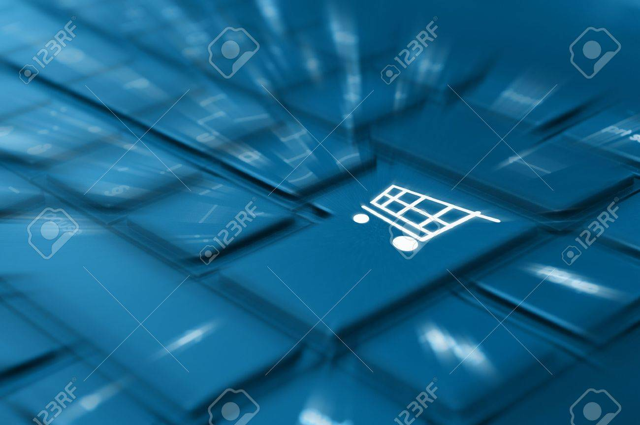 Online Shopping Concept - Detail of Key With Cart Symbol on Keyboard Stock Photo - 14568651
