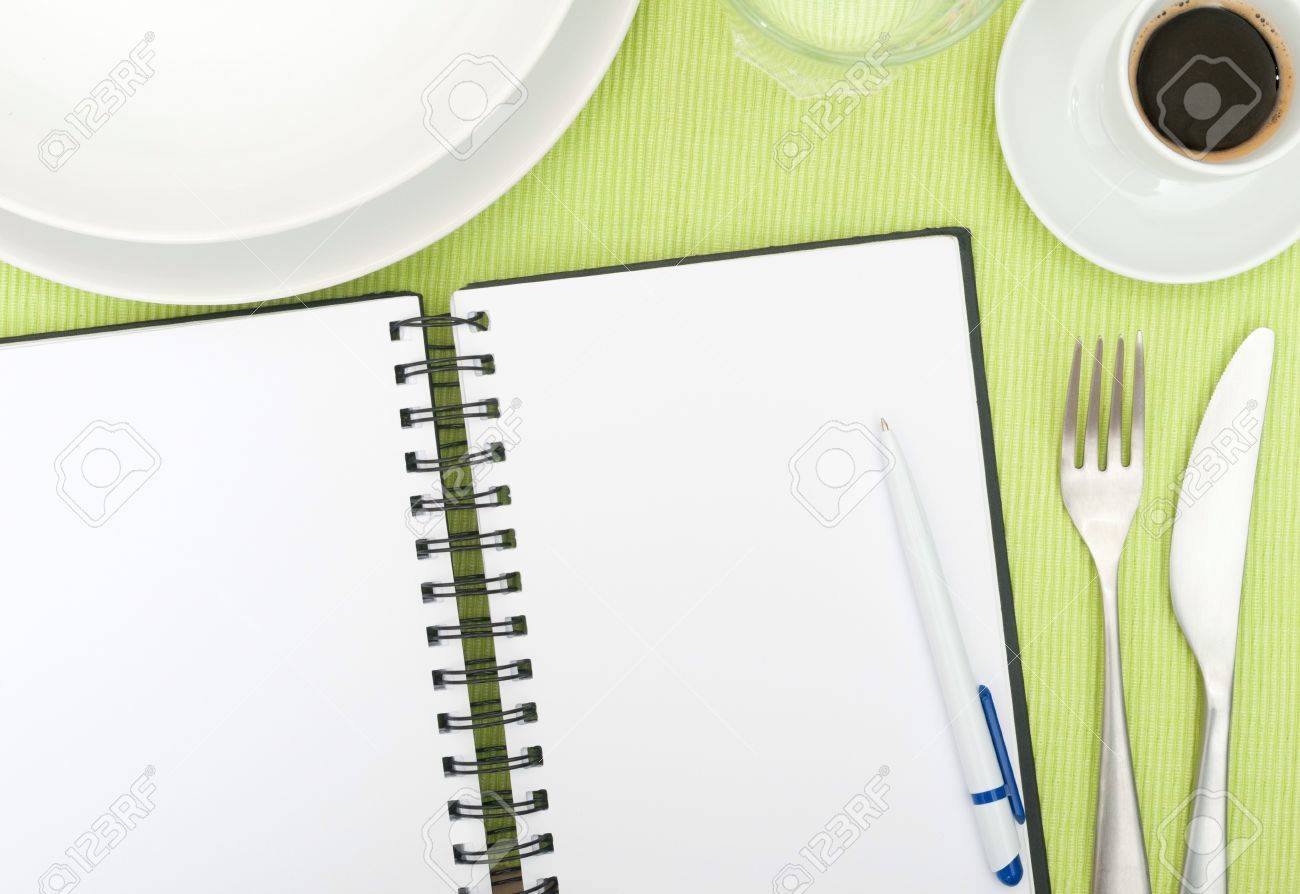 Set The Table Book Recipe Book Open Blank Diary With Ballpoint On Set Table In
