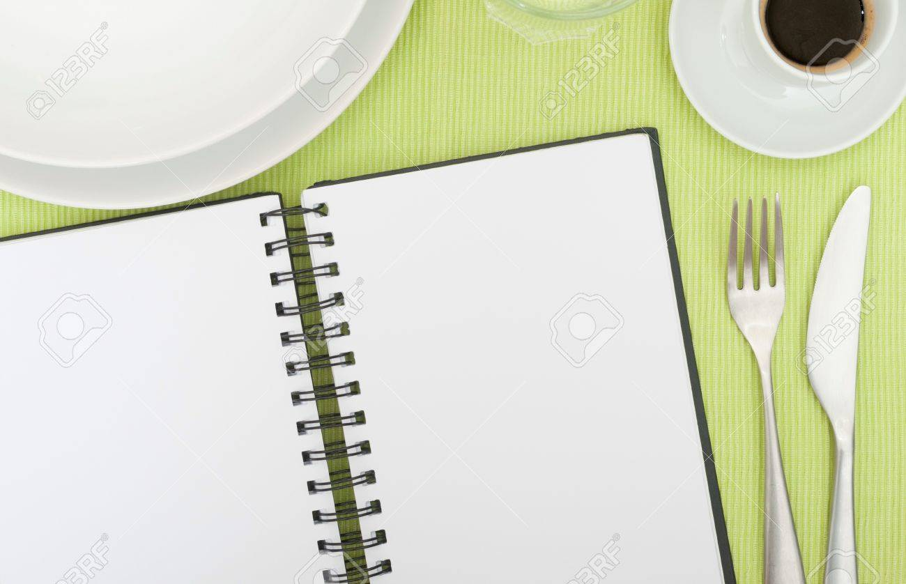 Recipe Book - Open Blank Diary on Set Table In Restaurant