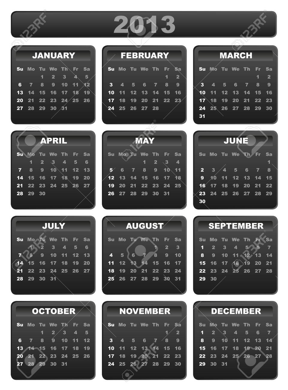 2013 Calendar in Shades of Grey on White Background Stock Vector - 15398755