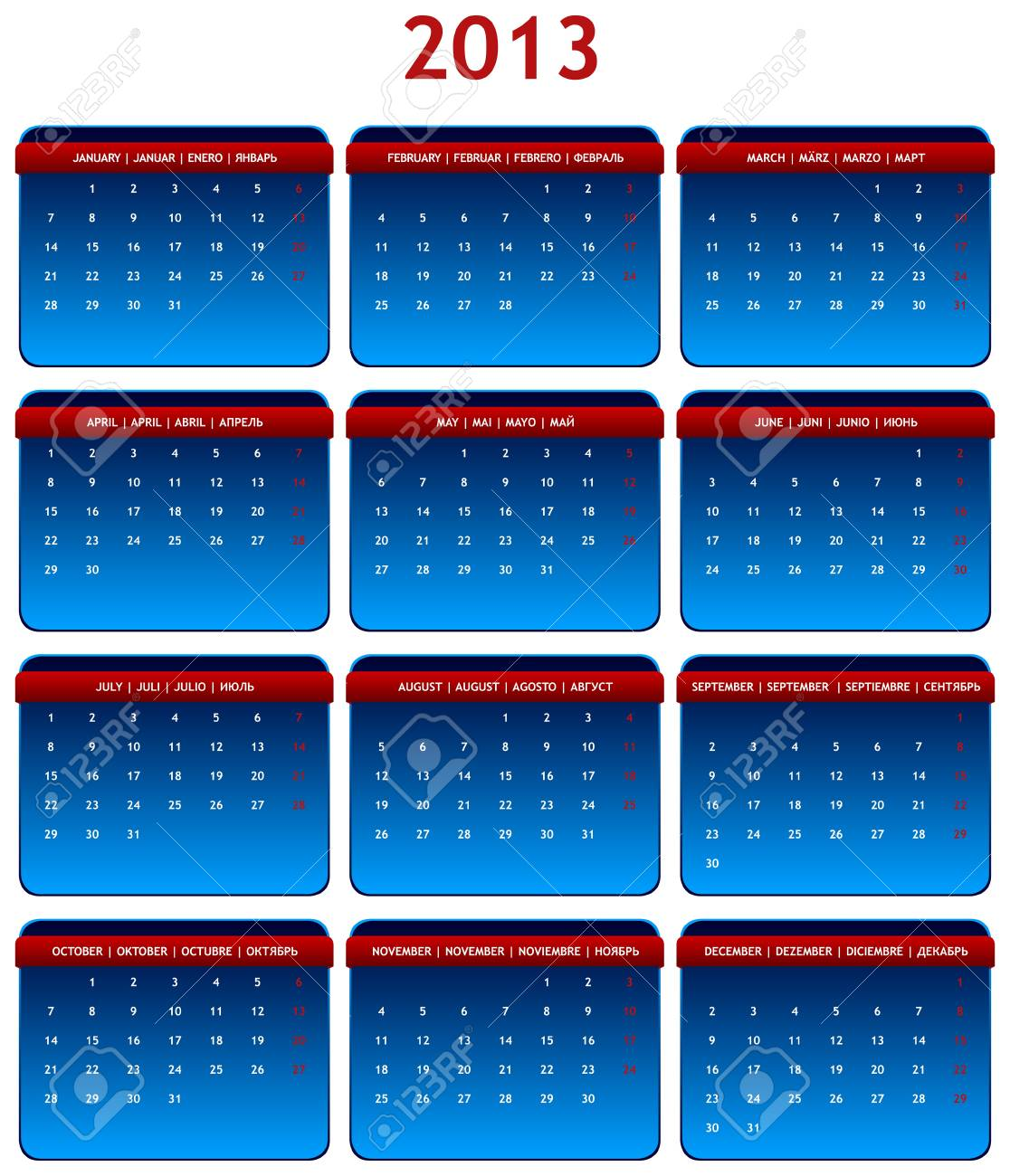 2013 International Calendar in Shades of Gray on White Background Stock Vector - 15417789