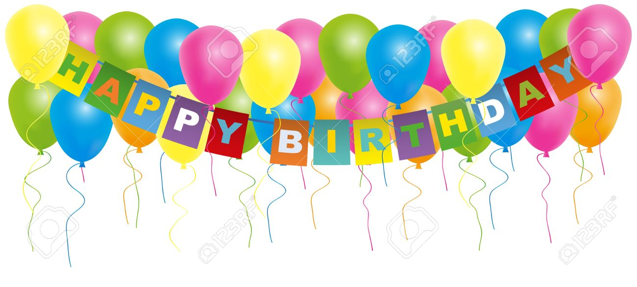 Happy Birthday Card  Color Balloons With With Happy Birthday Sign Isolated  On White Background Stock