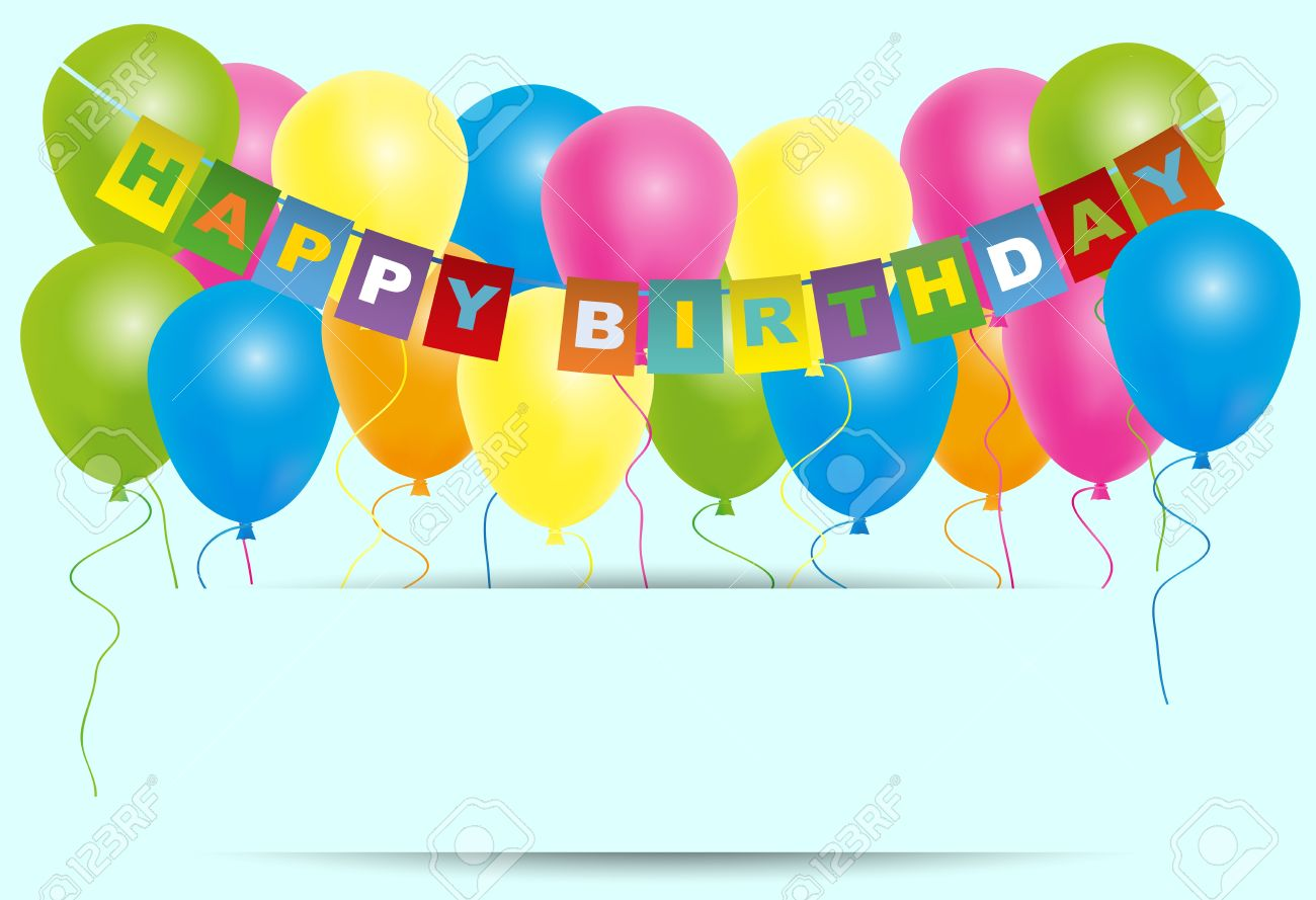 Feliz Cumpleaños Tarjeta De Color-globos Con Con El Signo Feliz ...