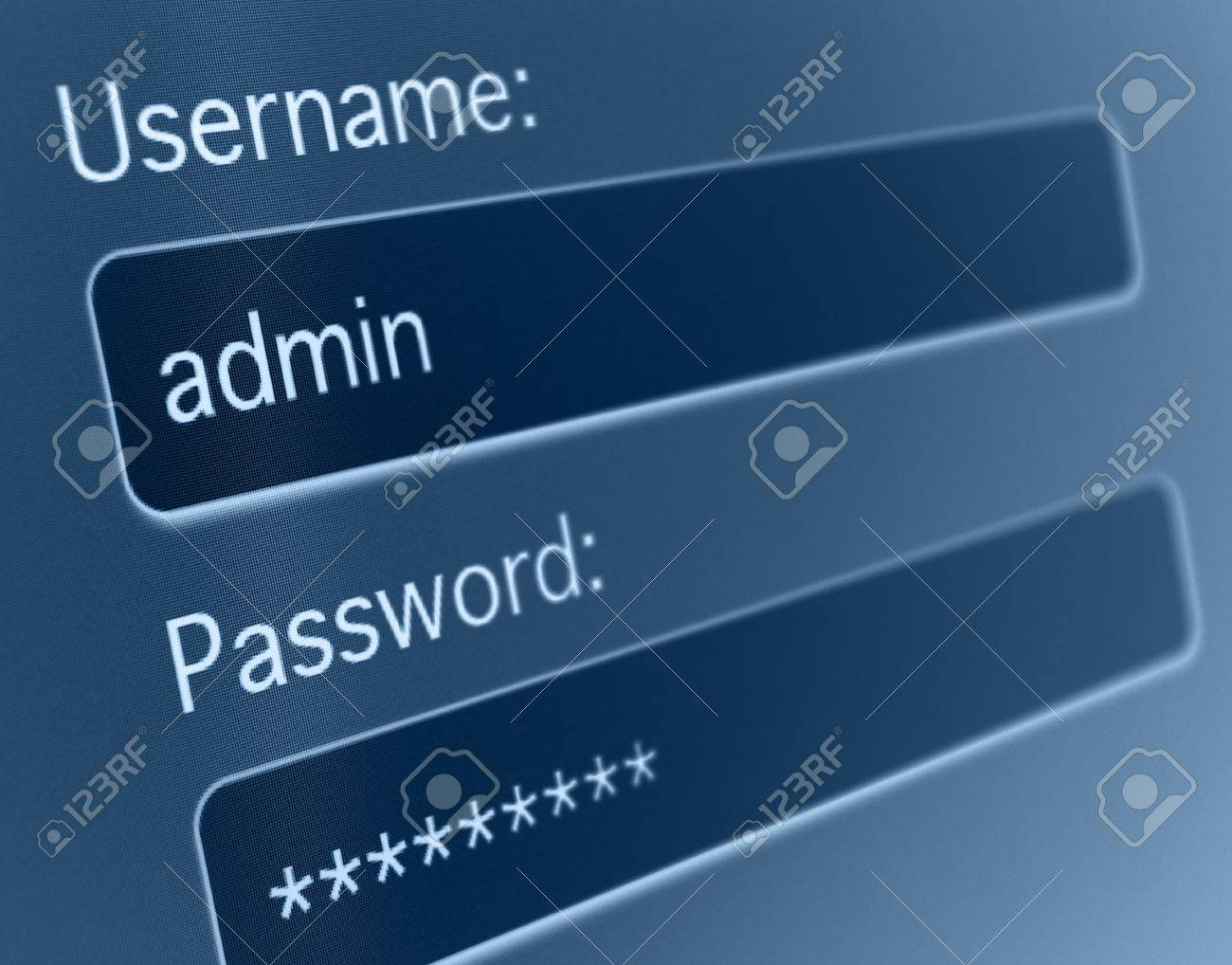 Login Box - Username and Password in Internet Browser on Computer Screen Stock Photo - 18285229