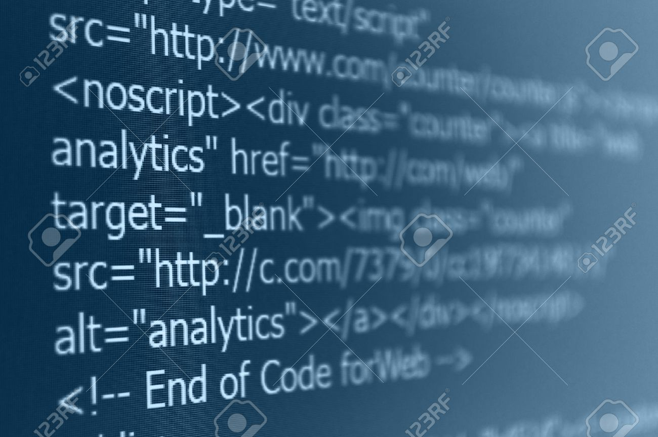 Closeup Of Web Code On Computer LED Screen Stock Photo, Picture ...