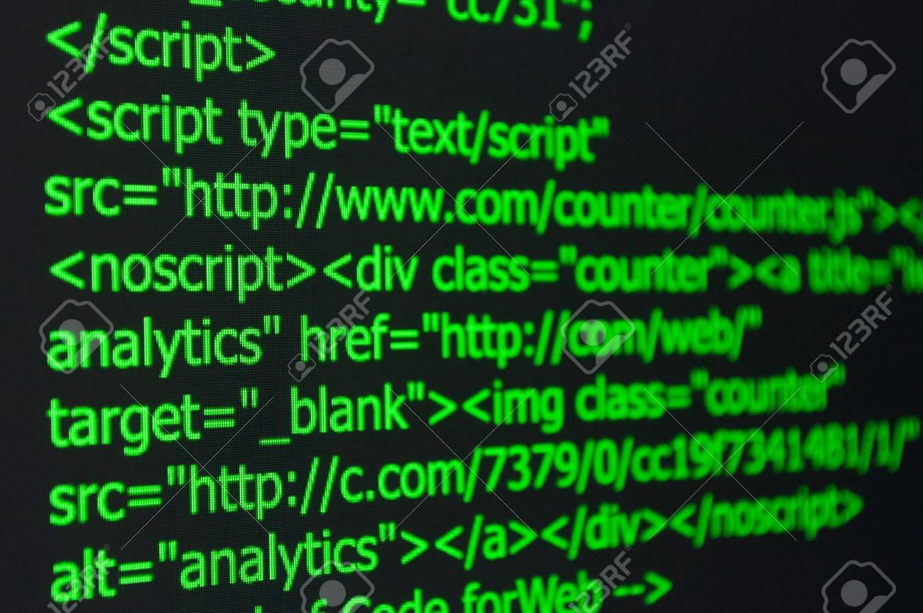 Closeup of Web Code on Computer LED Screen Stock Photo - 19357156