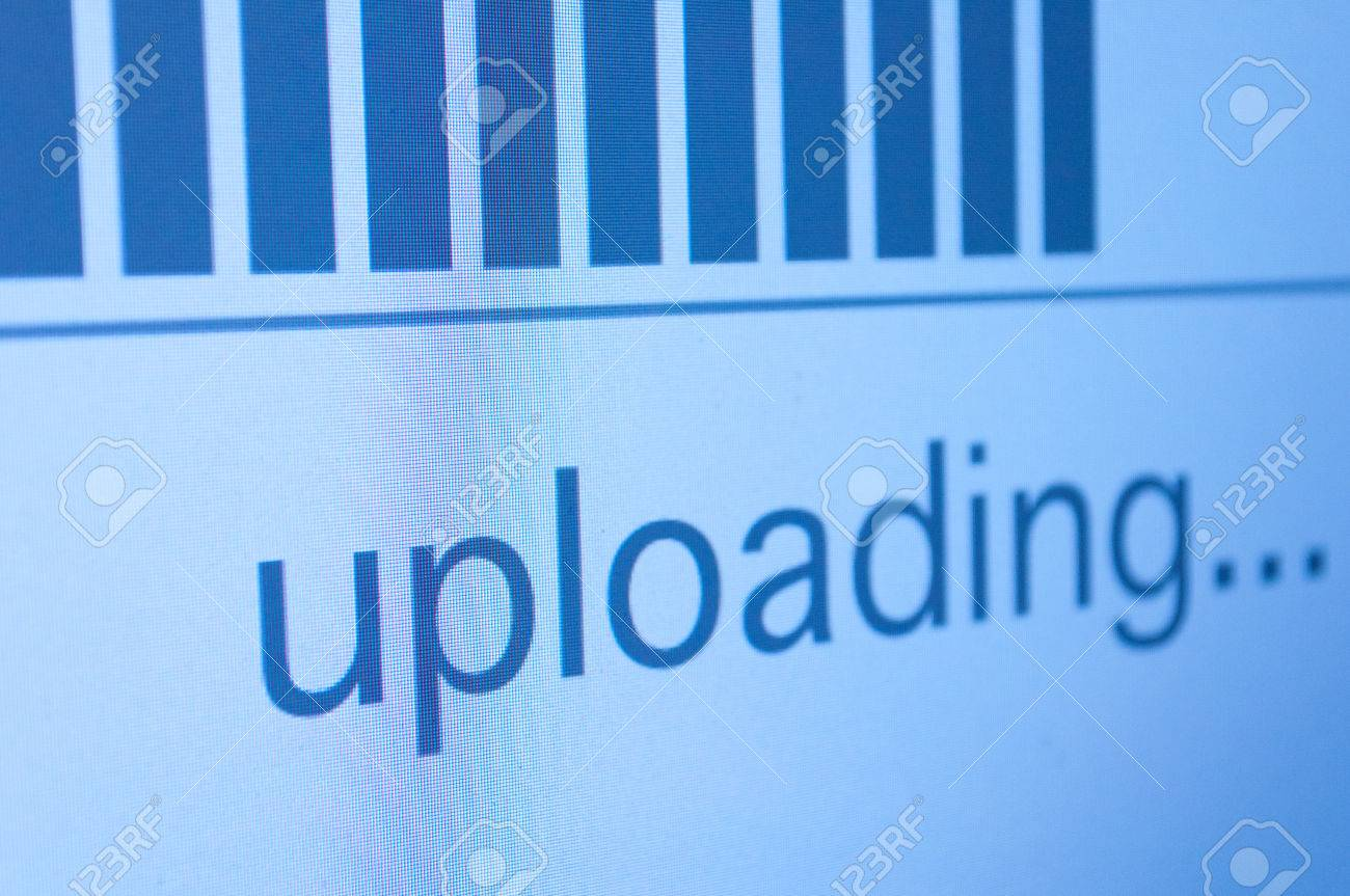 Closeup of Upload Process Bar on LCD Screen - Shallow Depth of Field Stock Photo - 22348156