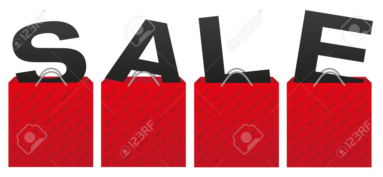 e51f1c20d99c Sale Sign - Illustration of Red Shopping Bags With Letters Stock Vector -  60419156