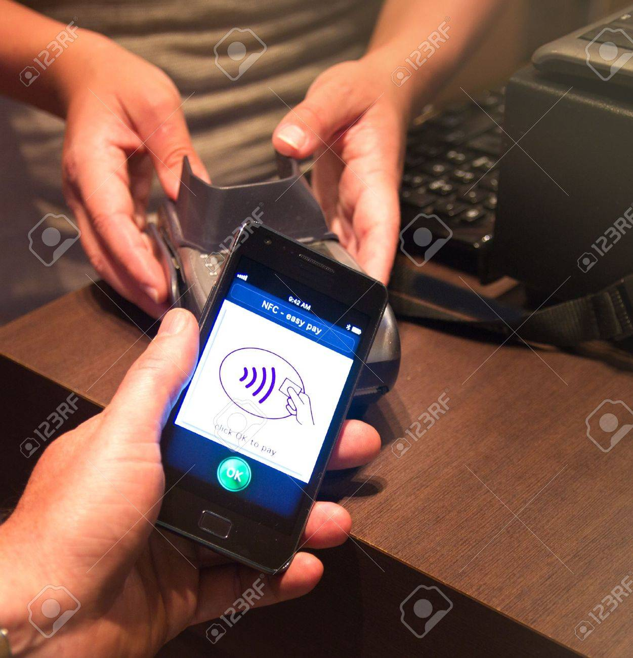 The new way to pay  NFC payments via mobile phone, etc Stock Photo - 13491999